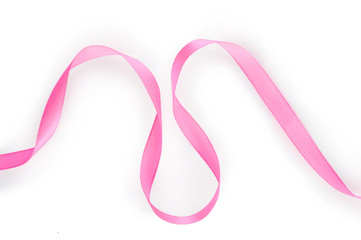 Pink satin ribbon isolated on white background. Top view. Flat lay.