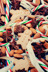 Christmas Background with Gingerbread Cookies and Spices