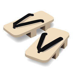 Pair of wooden clog Japanese traditional geta footwear Vector illustration