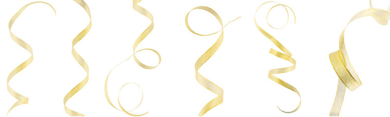 Many gold ribbons on a white, isolated background. Top view. Fla