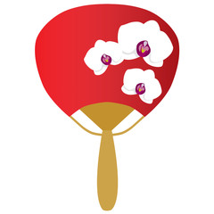 fancy oriental red hand fan with white orchids isolated vector illustration