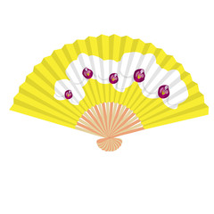 fancy yellow hand fan with white orchids isolated vector illustration
