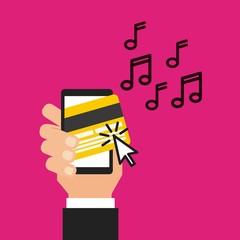 mobile music commerce online vector illustration design