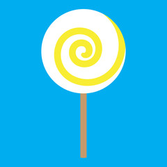 lolipop yellow spiral on blue background vector illustration