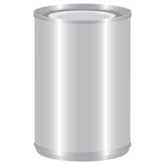 aluminium tincan cylinder realistic isolated vector illustration