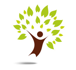 Green family tree sign and symbol , eco concept ,people ,tree ,leaf ,ecology ,nature ,logo,wellness, healthy life