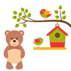 cartoon birds and birdhouse on a branch and bear
