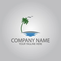 palm tree on the sea logo
