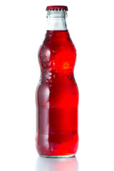 soft drink, red color in glass bottle.