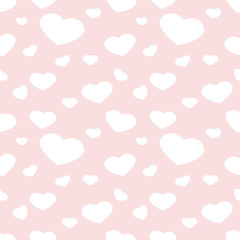 Seamless polka pattern with hearts. Vector