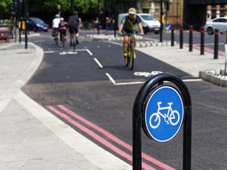 Cyclists using the New TFL Cycle Superhighway in London