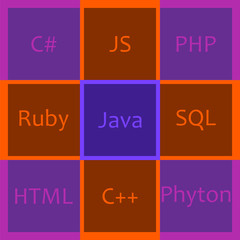 Wall Mural - programming languages in bright squares