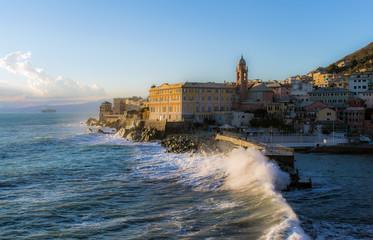 Big stormy waves crashing over the coast - Genoa Nervi pier, Italy
