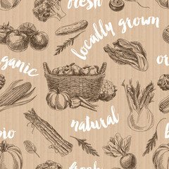 Vector vegetables retro seamless pattern