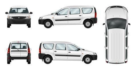 White car vector template. Isolated delivery van. Separate groups and layers.