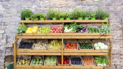 Foto op Plexiglas Groenten fruit vegetables shelves background