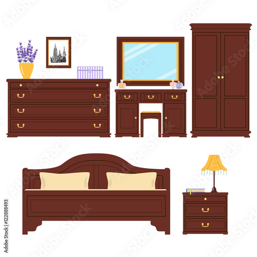 """""""Bedroom Furniture Vector Set"""" Stock Image And Royalty"""