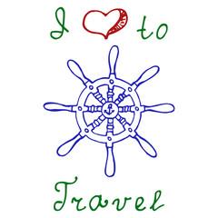 Travel handwritten text: I Love Travel. Vector illustration.