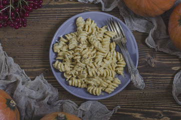 Pasta with pumpkin cream sauce and blue cheese