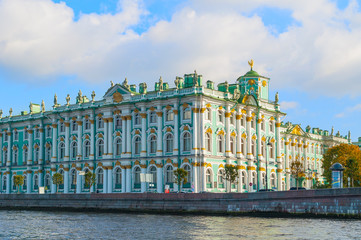 Architecture of St Petersburg - Hermitage or Winter Palace on the embankment of Neva river in St Petersburg,Russia