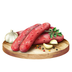 Raw sausage for barbecue with spices,  lettuce and tomatoes on a plate. Watercolor