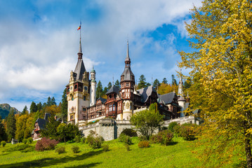 Aluminium Prints Eastern Europe Peles castle Sinaia in autumn season, Transylvania, Romania protected by Unesco World Heritage Site