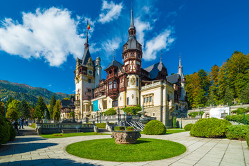 Printed roller blinds Castle Peles castle Sinaia in autumn season, Transylvania, Romania protected by Unesco World Heritage Site