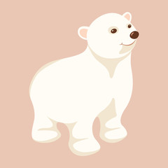 Polar bear young  vector illustration Flat