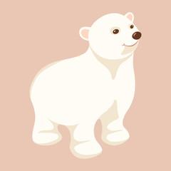 Polar bear young  vector illustration Flat