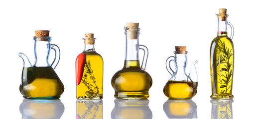 Bottles of Cooking Oils on White Background