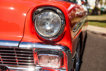 Canvas Prints Vintage cars Part of a red old car with headlamp