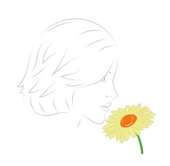 woman inhales aroma of a flower. vector illustration.