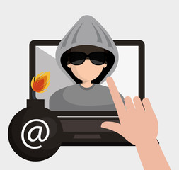 laptop and avatar man hacker and web security system design. vector illustration