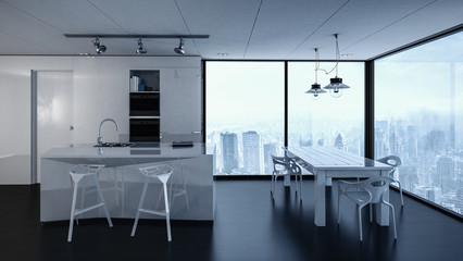 3d rendering of condominium kitchen interior