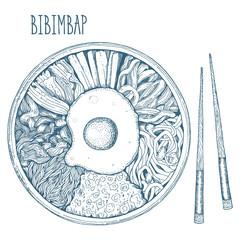 Bibimbap Korean food. Vector illustration. Linear graphic.