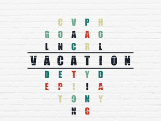 Holiday concept: Vacation in Crossword Puzzle