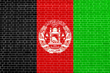 Flag of Afghanistan, brick wall texture background
