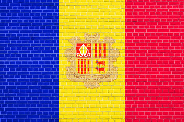 Flag of Andorra on brick wall texture background