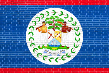 Flag of Belize on brick wall texture background