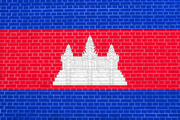 Flag of Cambodia on brick wall texture background