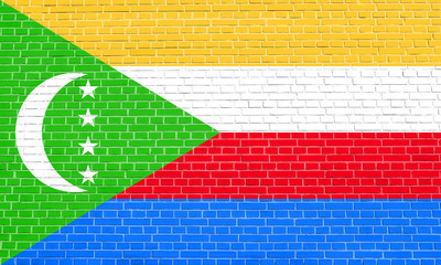 Flag of Comoros on brick wall texture background