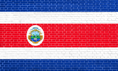 Flag of Costa Rica, brick wall texture background