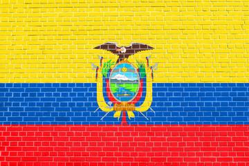 Flag of Ecuador on brick wall texture background