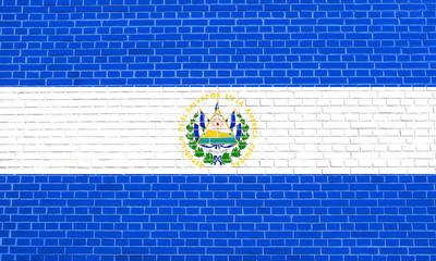 Flag of El Salvador, brick wall texture background