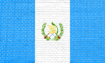 Flag of Guatemala on brick wall texture background