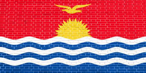 Flag of Kiribati on brick wall texture background