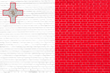 Flag of Malta on brick wall texture background