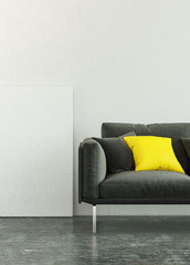 3D black sofa with pillow and blank wall