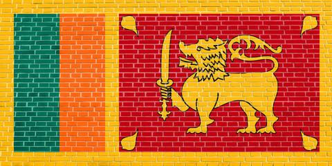 Flag of Sri Lanka on brick wall texture background