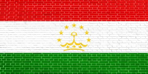Flag of Tajikistan, brick wall texture background